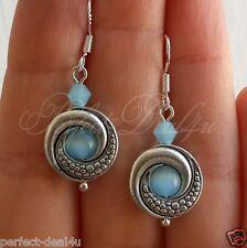 925 Sterling Silver hook Light Blue Cat's Eye Stone Tibetan Round Earrings