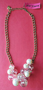 NWT Betsey Johnson Huge Faux Pearls Clear, White,Pink FASHION STATEMENT NECKLACE