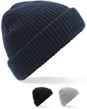 Soft Touch Classic Waffle Knit Beanie Ski Hat in GREY BLACK or NAVY BLUE