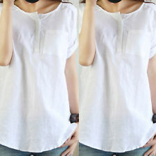 Womens Ladies Short Sleeve Blouse T Shirt Summer Loose Casual Linen Cotton Tops Green XXXL