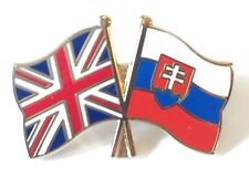United Kingdom & Slovakia Friendship Flags Gold Plated Enamel Lapel Pin Badge