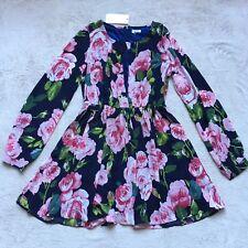 Tobi Floral Flowing Dress, Size LARGE, Long Sleeves, Pink Navy & Green