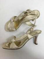 WOMENS K BY CLARKS IVORY SATIN PEARL BEADS FLOWER HEELED OCCASION SANDALS UK 5.5