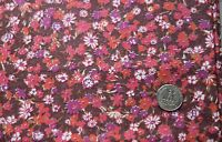 1 yd vintage 1950's cotton fabric, all over floral pattern, shades of pink & red