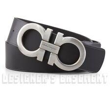 SALVATORE FERRAGAMO black 40 leather Double GANCINI buckle Belt NWT Authent $440