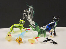 Lot Miniature Blown Glass Murano Red Ball Animal Cat Unicorn Dog Bird Figurine
