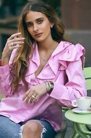 H&M Trend Pink Ruffle Frill Blouse Shirt Top UK 12 EU 38 US 8 BNWT