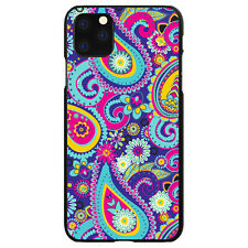Hard Case Cover for Apple iPhone (Pick Model) Hot Blue Yellow Pink Paisley