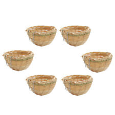 6x Handmade Bamboo Bird Nest Bed Hanging Cage for Finch Canary Budgie Cozy
