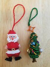 Set of Handmade Beaded 3-Dimensional Christmas Ornaments, Santa Claus & Tree