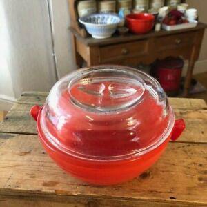 JAJ pyrex Coral Weardale 3 pint  easygrip casserole dish retro pyrex