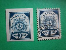 Latvia-Latvija- 1918--10 kap--2 stamps dark blue--1 perf.--1 impperf