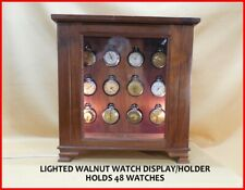 LIGHTED WALNUT POCKET WATCH DISPLAY CASE--HOLDS 48 WATCHES!