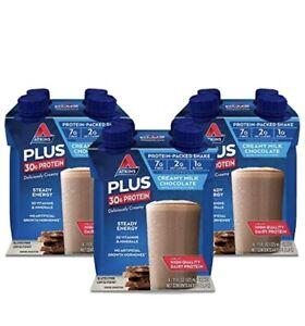 Atkins PLUS Protein Fiber Shake,Chocolate Keto Friendly,11oz.4 Count (Pack of 3)