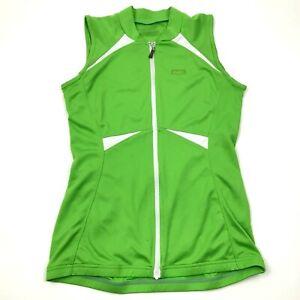 VINTAGE Louis Garneau Cycling Jersey Size Small Green White Shirt Full Zip Tank