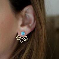 Elegant 1 Pair New Turquoise Natural Stone Ear Stud Lotus Flower Earring Jewelry