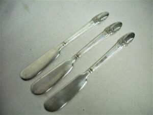 "3 Silver Plate FIRST LOVE Butter Spreader Knives Flatware 8 1/2"" Long Vintage"