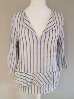 Womens Next Blouse Top Blue White Gold Stripes Linen Mix Frill Size 12 Vgc.