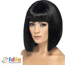 Femmes court noir blunt cut coquette perruque avec frange femme robe fantaisie
