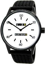 Wartburg 1,3S Herrenuhr analog Quarz Silikon Uhrband schwarz Reifen design 42mm