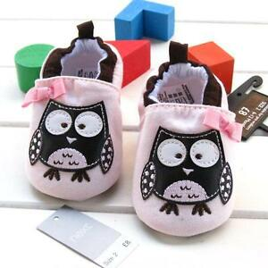Cute Pink Brown Faux Leather Baby Girls  Owl Crib Shoes  .. Pre Walkers