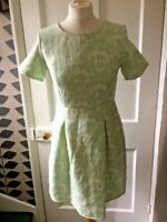 ANNIE GREENABELLE SIZE 10 GREEN FLORAL COTTON/POLYESTER/ELAST SCOOP NECK DRESS