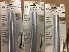 LOT OF 3 - L'Oreal Panoramic Curl Extreme Curl Mascara WASHABLE BLACK #205