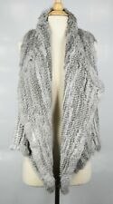 525 America Luxe Real Natural Rabbit Fur Open Front Shawl Collar Vest Size XS