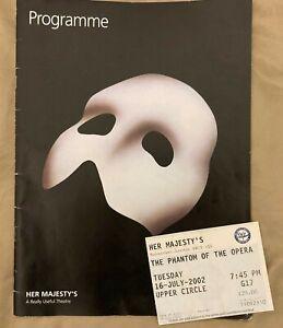Phantom of the Opera Programme Her Majesty's Theatre London 2002 + Ticket Stub