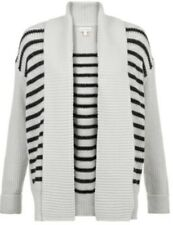 Monsoon Cleo Stripe Cardigan Heavy Duty Knit Grey Black Size Large Bnwt