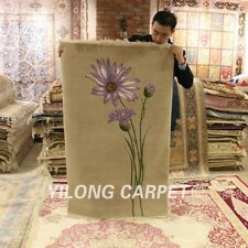 YILONG 3'x4.7' Flower Hand knotted Wool Carpet Chinese Art Deco Interior Rug