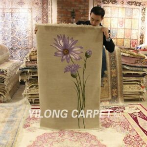 YILONG 3'x4.7' Purple Flower Hand knotted Wool Carpet Chinese Art Deco Porch Rug