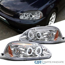 For 96-98 Honda Civic 2/3/4Dr LED DRL Halo Clear Projector Headlights Head Lamps