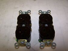 2) NEW LEVITON 20 AMP BROWN DUPLEX RECEPTACLE 125V 2 POLE 3 WIRE 5362-S LOT OF 2