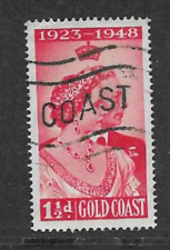 GOLD COAST POSTAL ISSUE - 1948 - USED 11/2d KGV1 COMMEMORATIVE STAMP - SILVER