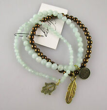 DAMSELFLY Jade and Gold Bracelets BNWT RRP$159.95 Green Beads Charms
