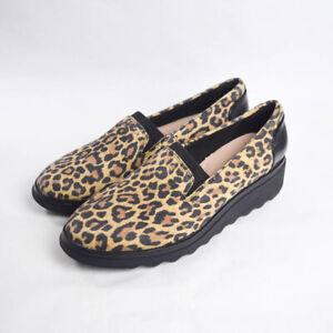 Clarks Womens 7.5 Sharon Dolly Leopard Print Slip On Loafer Platform Heel
