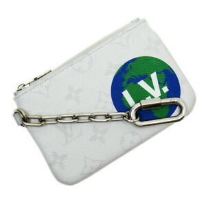 Auth Louis Vuitton White Monogram Zipped Pouch PM Coin Purse M67809 - h26643a