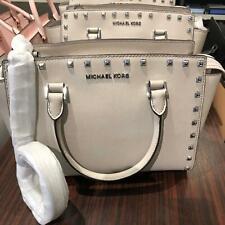 Authentic Michael Kors Selma Stud Grey Cement Satchel Crossbody Bag