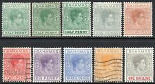 More details for 1938-52 bahamas sg 149/155 short set of 8 values mounted mint/used
