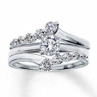 14K White Gold Fn Solitaire Enhancer 1.6 Ct Diamond Guard Wrap Wedding Band Ring