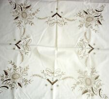 Vintage Hand Embroidered Madeira Cream & Beige Linen Large Tablecloth