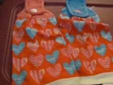 New listing Lot Of Two New Handmade Crocheted Kitchen Towels Valentines Pink/Blue Hearts