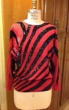 Vintage 90s La Fete Black / Magenta Wool  Beaded Kimono Disco Party Sweater Sz M