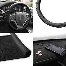 Silicone Steering wheel cover w/ Black Dash Mat Black for Auto