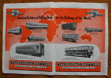 Metropolitan Cammell 1949 Advert - World Railway Rolling Stock A3 size (ep)