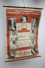 Antique grand Tableau d'apprentissage Bandages Bras/Jambe,Carte murale,