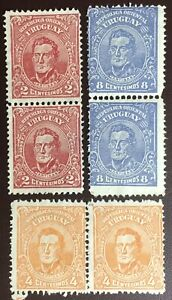 Uruguay 1913 Martin Definitives 3 Values In Pairs Mint