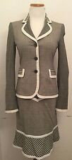 MOSCHINO Black/White/Pink Lightweight Wool Blend Check Skirt Suit (Size 8/6)