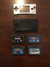 Nintendo Game Boy Micro GBM Console Used Tested w/ Silver Faceplate & 4 Games!!